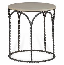 Bradley Rustic Braided Iron French Country Cream Limestone Side End Table | Kathy Kuo Home