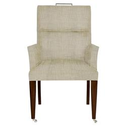 Brambley Modern Classic Natural Upholstered Wood Caster Dining Arm Chair | Kathy Kuo Home