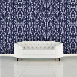 Branches Modern Classic Blue Removable Wallpaper | Kathy Kuo Home