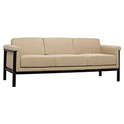 Brandon Lodge Beige Linen Rustic Metal Sofa | Kathy Kuo Home