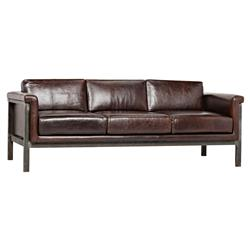 Brandon Lodge Tobacco Brown Leather Iron Sofa | Kathy Kuo Home