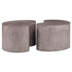 Bray Industrial Modern Stone Outdoor Coffee Table | Kathy Kuo Home