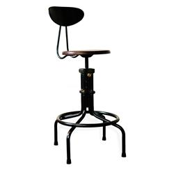 Brexton Adjustable Height Industrial Mahogany Stool with Back | Kathy Kuo Home