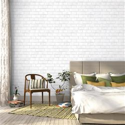 Brick Textured Industrial Loft White Removable Wallpaper | Kathy Kuo Home