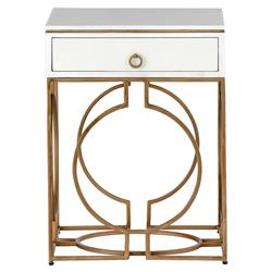 Bridger Regency Brushed Brass Faux Bone End Table | Kathy Kuo Home