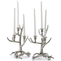 Bridget Modern Classic Polished Nickel Antler Candleholder | Kathy Kuo Home