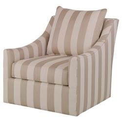 Briggs Coastal Beige Striped Outdoor Swivel Chair | Kathy Kuo Home