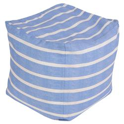 Bright Blue Stripe Outdoor Pouf Ottoman | Kathy Kuo Home