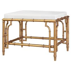 Brigitte Hollywood Regency Antique Gold Bamboo Stool | Kathy Kuo Home