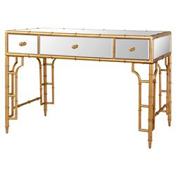 Brigitte Regency Mirrored Antique Gold Bamboo Console Desk | Kathy Kuo Home