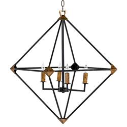 Brisco Industrial Rustic Black Brass Pyramid Chandelier | Kathy Kuo Home