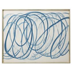 Brodee Modern Silk Graffiti Calligraphy Painting - Blue | Kathy Kuo Home