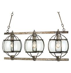 Brompton Industrial Loft Bronze Iron Glass 3 Light Island Pendant | Kathy Kuo Home