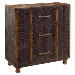 Brookton Rustic Faux Crocodile Studded Steamer Luggage Chest | Kathy Kuo Home