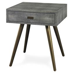 Brosnan Modern Grey Faux Shagreen Brass Pin End Table | Kathy Kuo Home