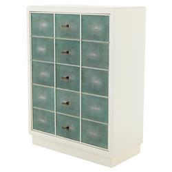 Brunel Modern Classic White Turquoise Shagreen Dresser | Kathy Kuo Home