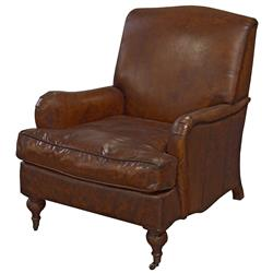 Burnham Rustic Lodge Vintage Brown Leather Castors Armchair | Kathy Kuo Home