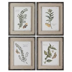 Butterfly French Rustic Linen Botanical Print - Set of 4 | Kathy Kuo Home