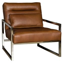 Cadena Loft Masculine Brown Leather Steel Armchair | Kathy Kuo Home