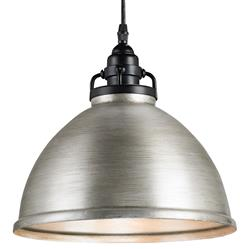Cala Industrial Loft Brushed Nickel Dome Pendant | Kathy Kuo Home