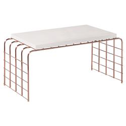 Caleb Modern Rectangular White Concrete Metal Frame Tall Outdoor Coffee Table | Kathy Kuo Home