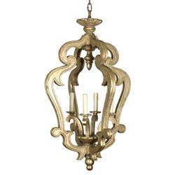 Calella French Country Gold Curlicue Faux Candle 4-Light Lantern | Kathy Kuo Home