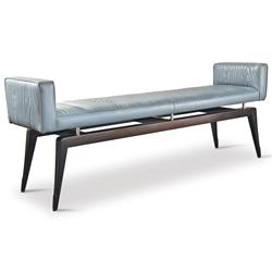 Calista Modern Art Deco Wood Pattern Grey Leather Bench | Kathy Kuo Home