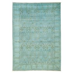Calliope Overdye Blue Medallion Wool Rug - 6'2 x 8'10 | Kathy Kuo Home