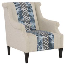 Callixto Modern Blue Greek Grey Beige Armchair | Kathy Kuo Home