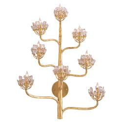 Camellia Regency Floral Cluster Gold Leaf Wall Sconce | Kathy Kuo Home