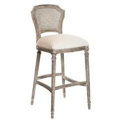 Camilla French Country Washed Taupe Linen Barstools - Set of 2 | Kathy Kuo Home