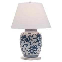 Cannon Global Blue Dragon Motif Porcelain Lucite Table Lamp | Kathy Kuo Home