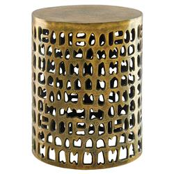 Canto Global Antique Gold Cut Out Drum End Table | Kathy Kuo Home