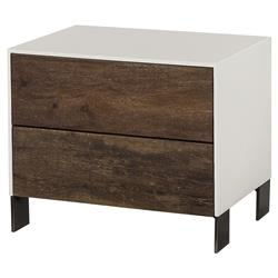 Cardillo Rustic Modern White Acrylic Peroba Nightstand | Kathy Kuo Home