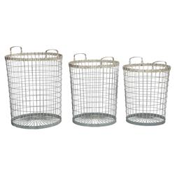 Carlene Coastal Country Rustic Zinc Wire Baskets - Set of 3 | Kathy Kuo Home