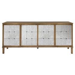 Carmelina Regency Antique Gold Mirror Panel Buffet | Kathy Kuo Home