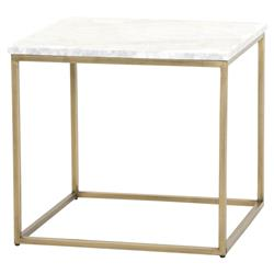 Carol Modern Classic White Marble Top Brushed Gold Side End Table | Kathy Kuo Home