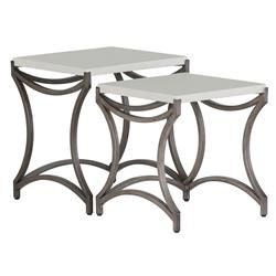 Caroline Ivory Iron Outdoor Nesting Tables - Pair | Kathy Kuo Home