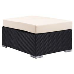 Caroline Modern Classic Aluminum Upholstered Outdoor Ottoman | Kathy Kuo Home