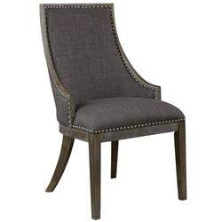 Caron French Country Charcoal Studded Nickel Wood Chair | Kathy Kuo Home