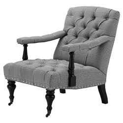 Carson Dixon Black White Patterened Nailhead Trim Tufted Club Chair | Kathy Kuo Home