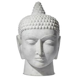 Carved White Marble Global Bazaar Buddha Head Sculpture | Kathy Kuo Home