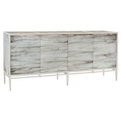 Carys Modern Classic Grey Painted Glass Carrera Cabinet | Kathy Kuo Home