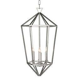 Cascade Silver Hollywood Regency Diamond Cage Foyer Pendant | Kathy Kuo Home