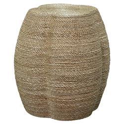 Cassius Coastal Beach Natural Rope Quatrefoil Stool | Kathy Kuo Home