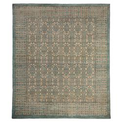 Caterina Bazaar Muted Blue Pattern Wool Rug - 8'2 x 9'5 | Kathy Kuo Home