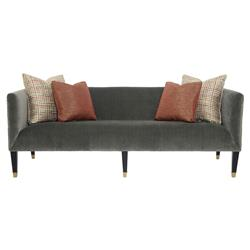 Catori Classic Grey Velvet Strie Mod Sofa | Kathy Kuo Home