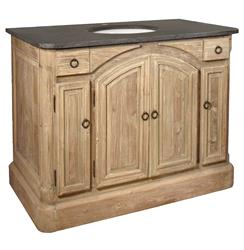 Cavelier French Country Reclaimed Pine Arched Doors Single Bath Vanity Sink | Kathy Kuo Home