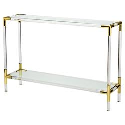 Cecil Modern Brass Corner Acrylic Console Table - 48W | Kathy Kuo Home