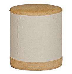 Cecilia French Rustic Cottage Natural Burlap Linen Round Footstool